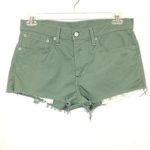 Levi's 511 High Rise Cut off Shorts Green W34